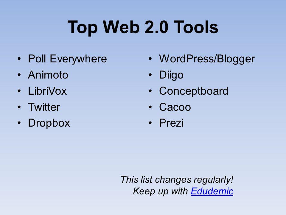Top Web 2.0 Tools Poll Everywhere Animoto LibriVox Twitter Dropbox WordPress/Blogger Diigo Conceptboard Cacoo Prezi This list changes regularly! Keep