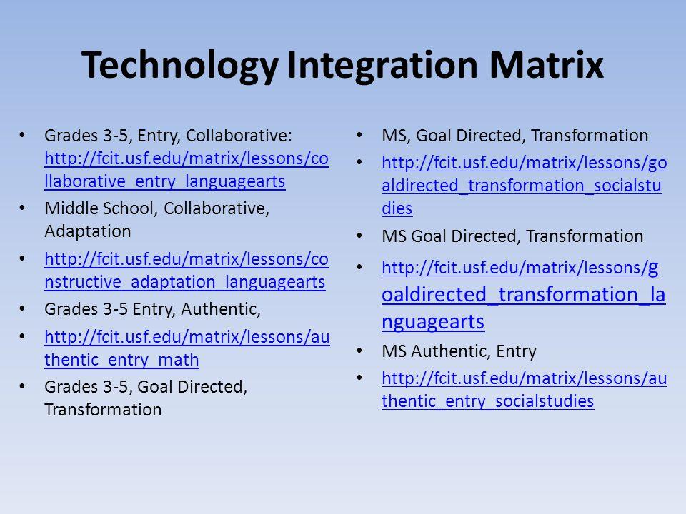 Technology Integration Matrix Grades 3-5, Entry, Collaborative: http://fcit.usf.edu/matrix/lessons/co llaborative_entry_languagearts http://fcit.usf.e