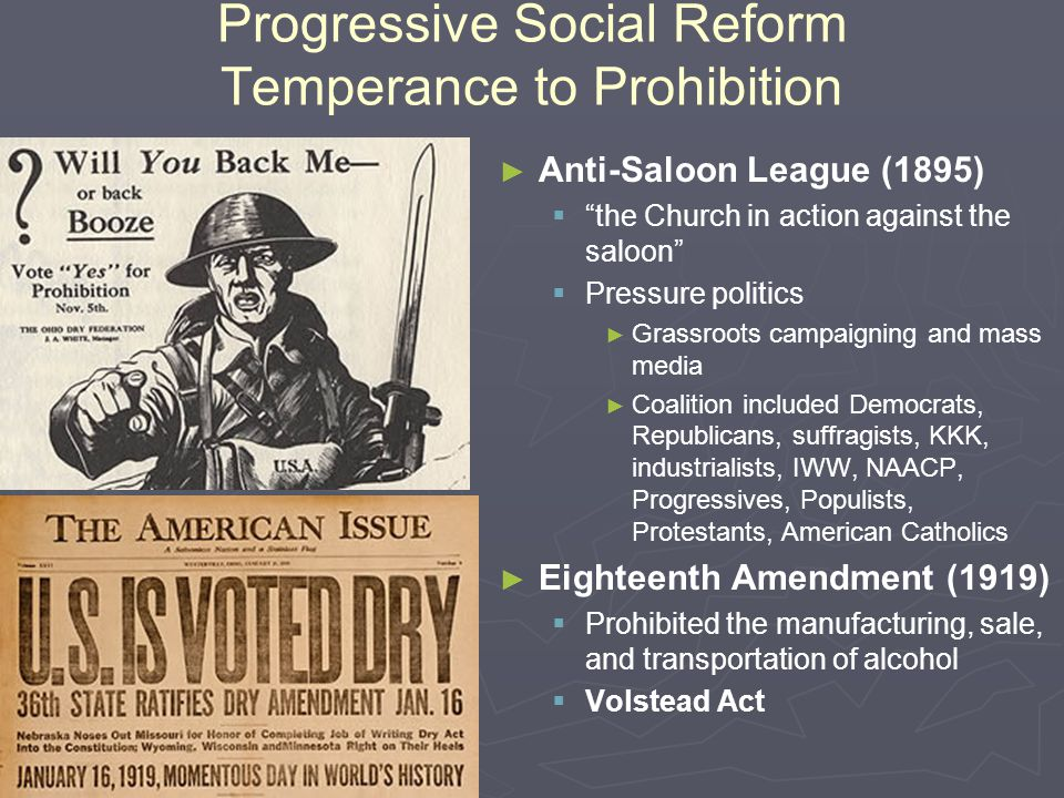 Progressive Social Reforms Women ► ► Women and the Workplace   Careers ► ► Domestic servants, garment workers, teachers, secretaries, operators   Reforms ► ► Less working hours ► ► Child labor laws   Women's Trade Union League (1903) ► ► Temperance   Moral responsibility to improve society   Women's Christian Temperance Union (WCTU)
