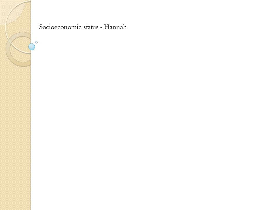 Socioeconomic status - Hannah