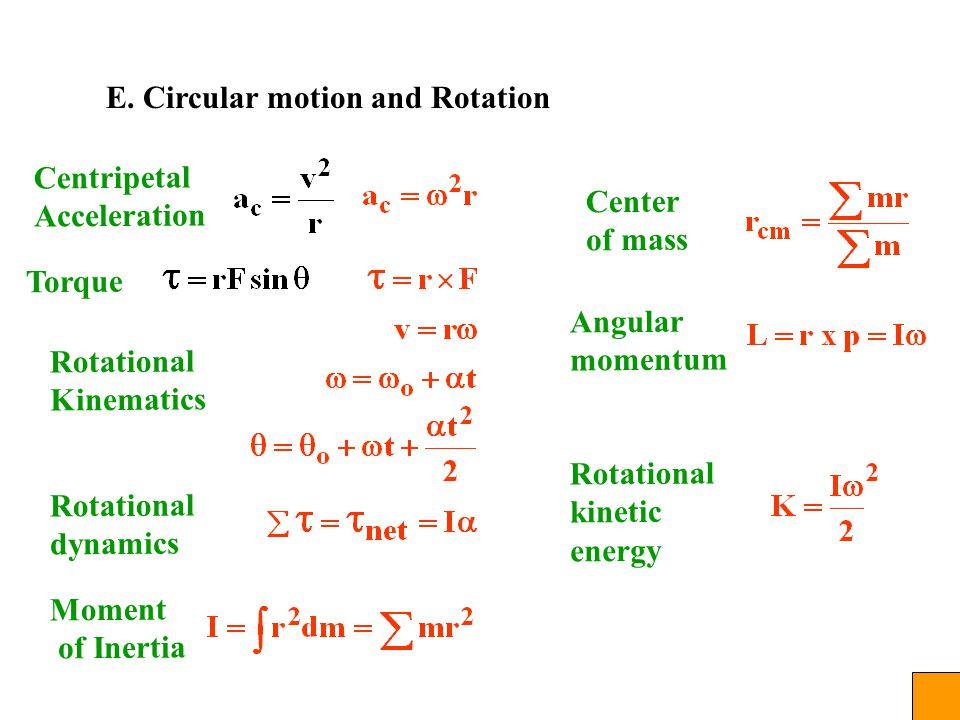 E. Circular motion and Rotation Centripetal Acceleration Torque Rotational Kinematics Moment of Inertia Center of mass Angular momentum Rotational kin