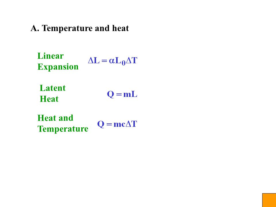 A. Temperature and heat Linear Expansion Latent Heat Heat and Temperature
