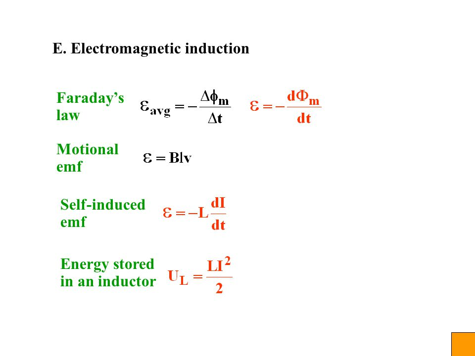 E. Electromagnetic induction Faraday's law Motional emf Self-induced emf Energy stored in an inductor