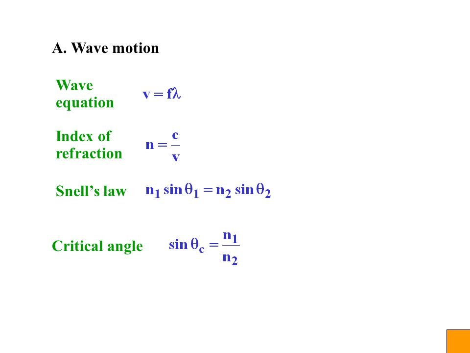 A. Wave motion Wave equation Index of refraction Snell's law Critical angle