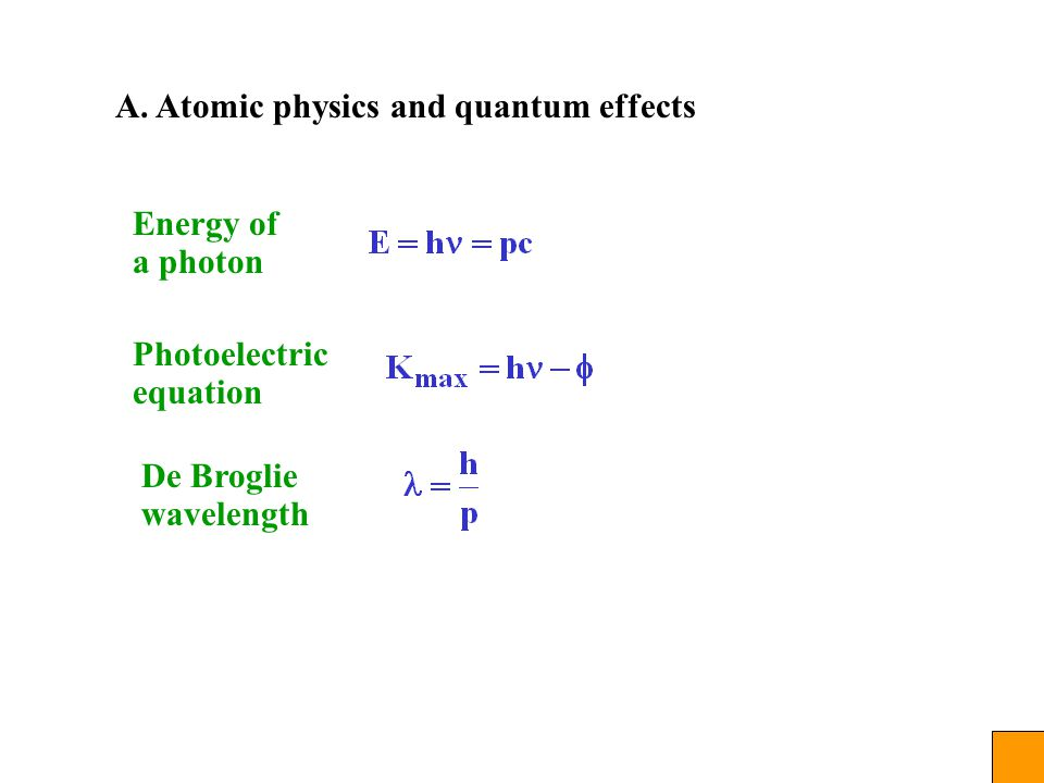 A. Atomic physics and quantum effects Energy of a photon Photoelectric equation De Broglie wavelength