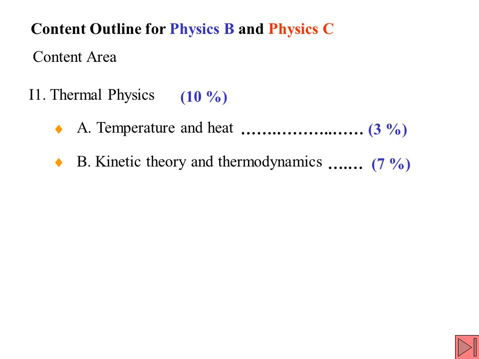 I1. Thermal Physics A. Temperature and heat B.