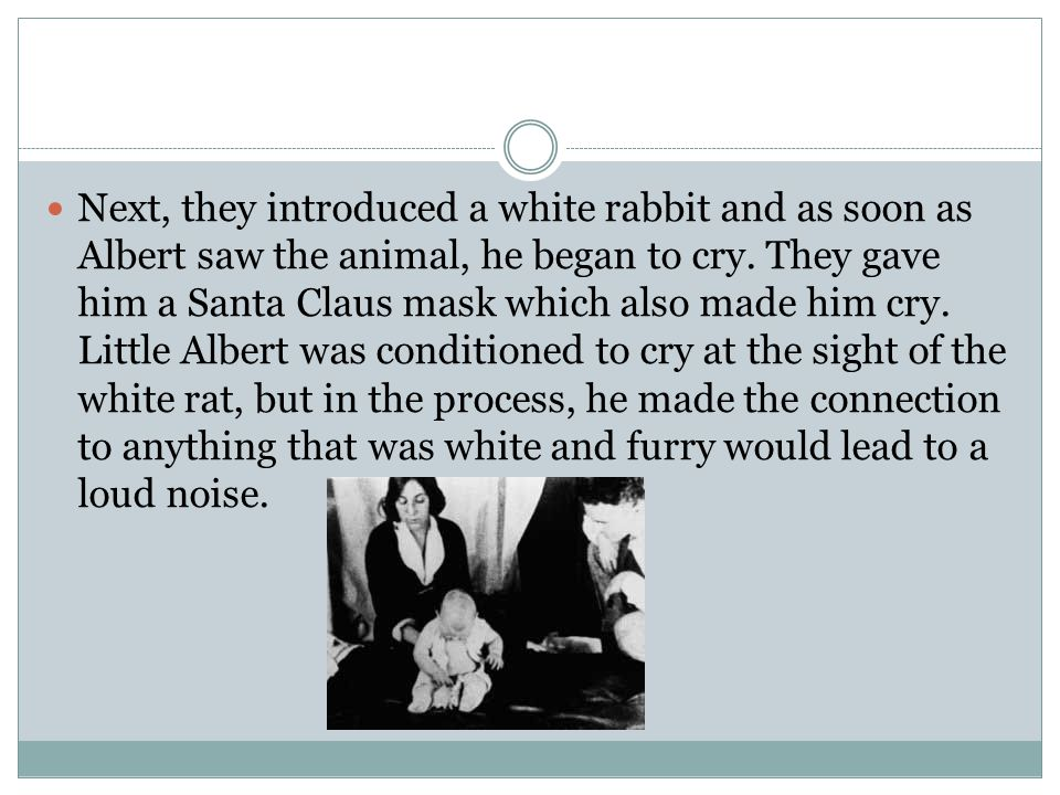 Next, they introduced a white rabbit and as soon as Albert saw the animal, he began to cry.