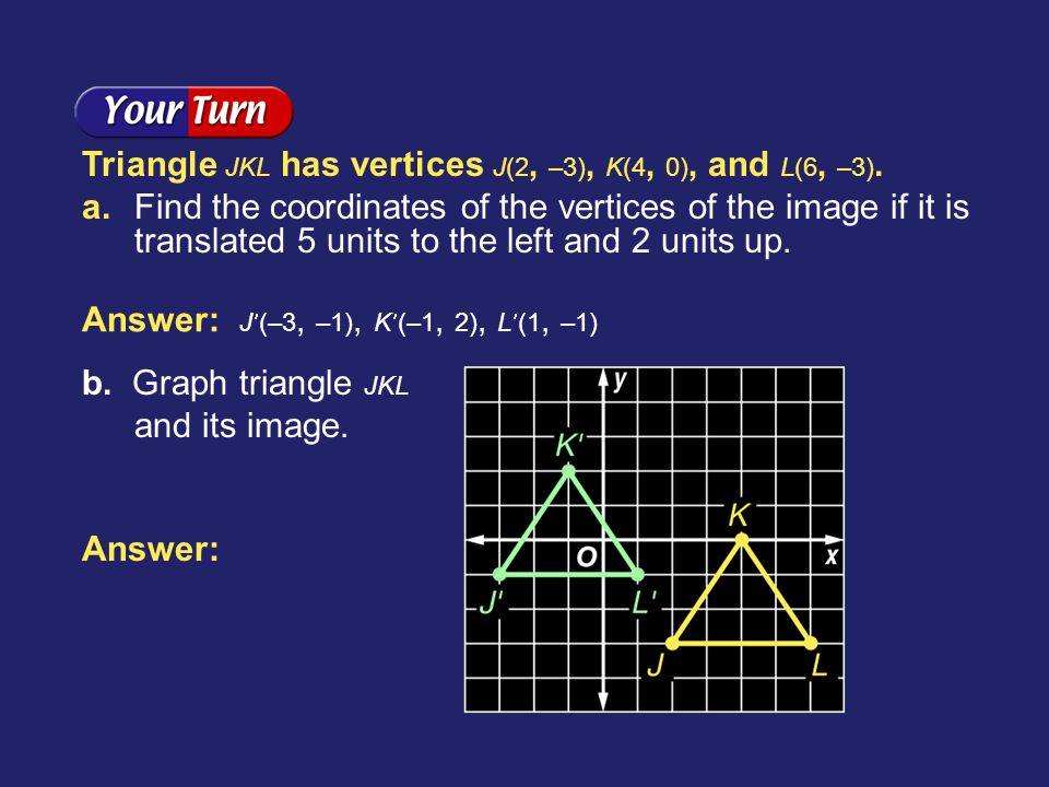 Example 2-3c Triangle JKL has vertices J(2, –3), K(4, 0), and L(6, –3). a. Find the coordinates of the vertices of the image if it is translated 5 uni