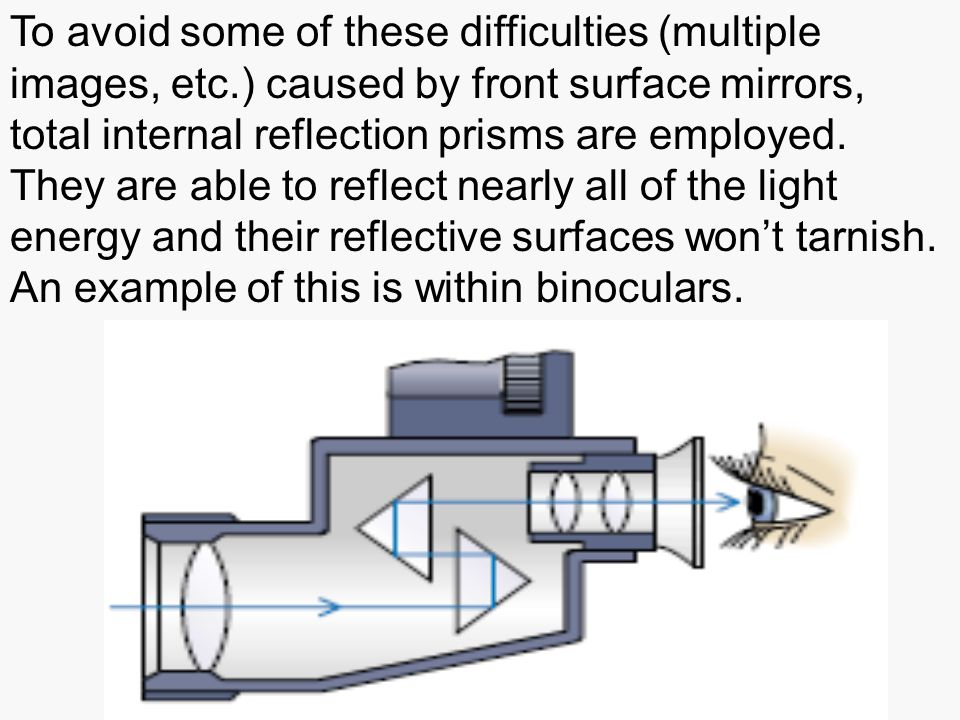 To avoid some of these difficulties (multiple images, etc.) caused by front surface mirrors, total internal reflection prisms are employed.