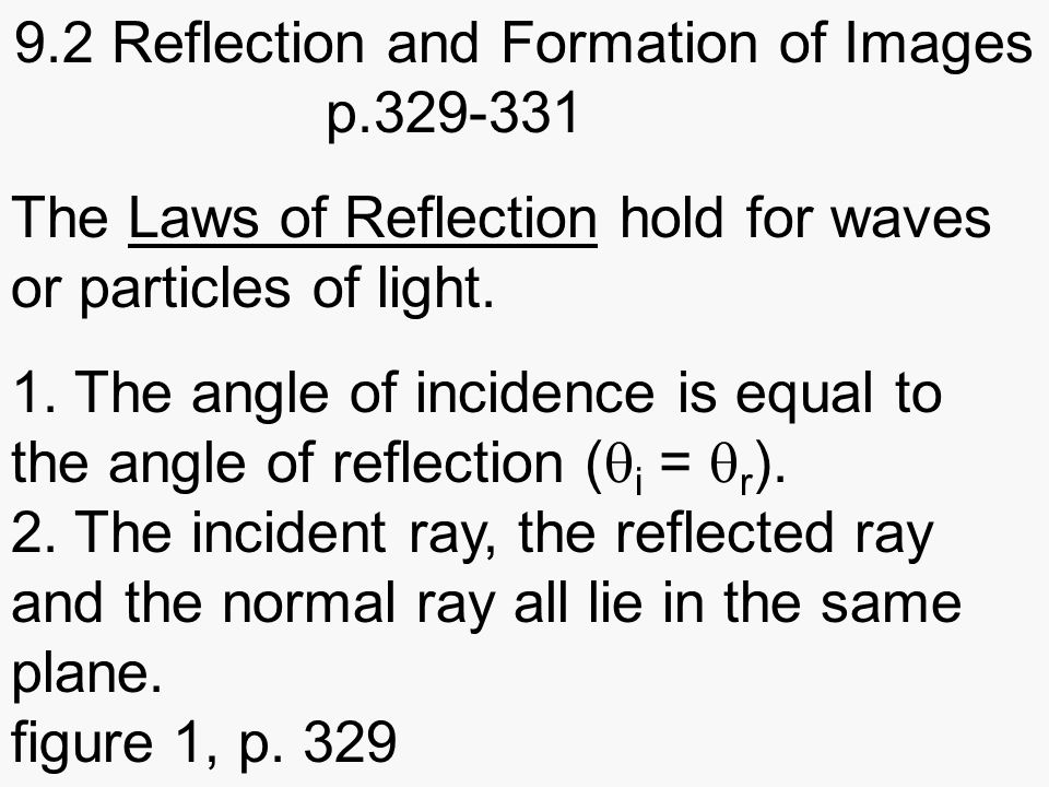 9.2 Reflection and Formation of Images p.329-331 The Laws of Reflection hold for waves or particles of light.