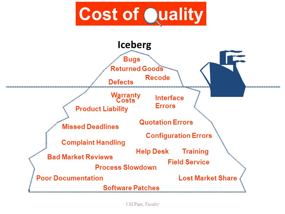Iceberg J.M.Pant, Faculty Bugs Recode Defects Warranty Costs Quotation Errors Product Liability Missed Deadlines Configuration Errors Complaint Handli