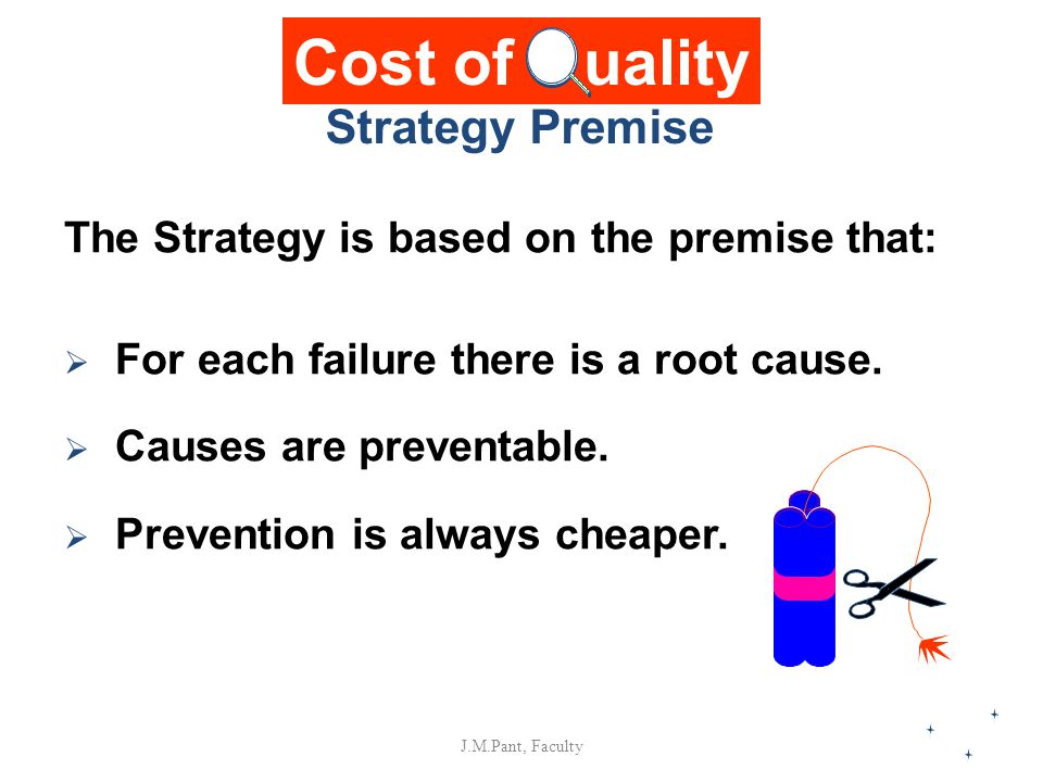 J.M.Pant, Faculty The Strategy is based on the premise that:  For each failure there is a root cause.  Causes are preventable.  Prevention is alway