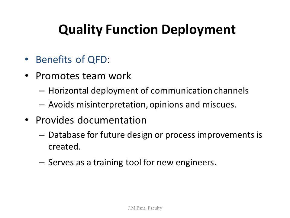 Quality Function Deployment Benefits of QFD: Promotes team work – Horizontal deployment of communication channels – Avoids misinterpretation, opinions