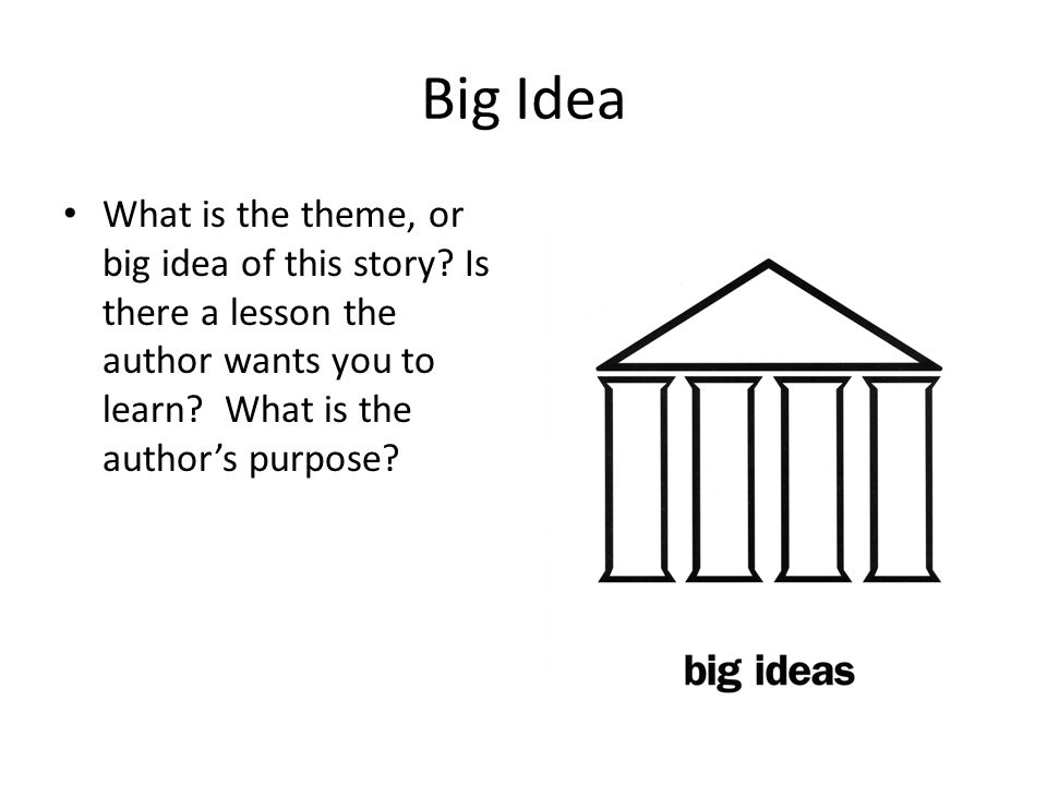 Big Idea What is the theme, or big idea of this story? Is there a lesson the author wants you to learn? What is the author's purpose?