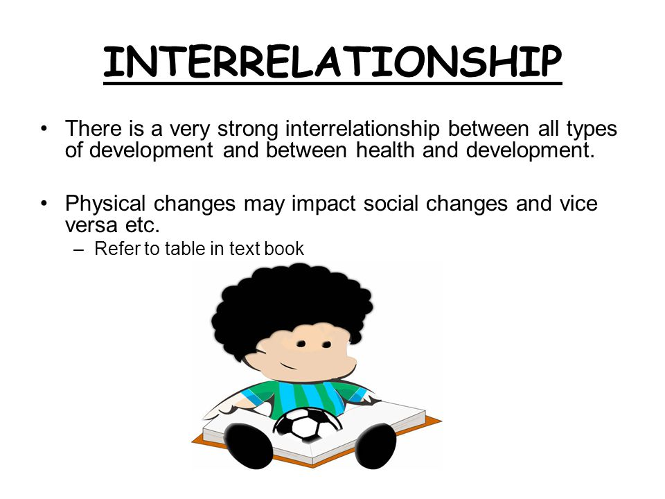 INTERRELATIONSHIP There is a very strong interrelationship between all types of development and between health and development. Physical changes may i