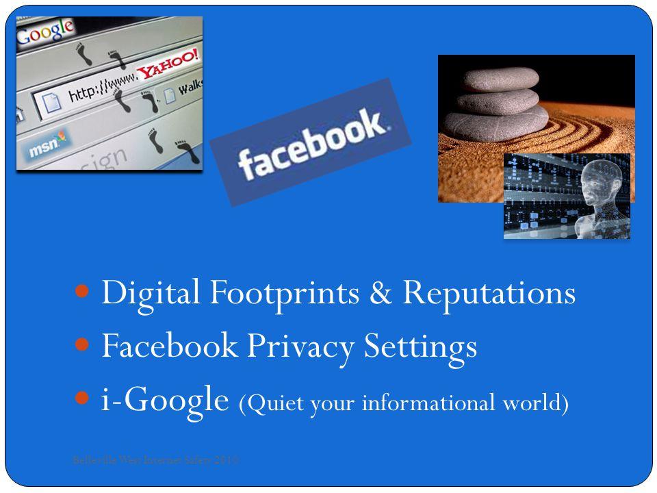 Google Alerts Belleville West Internet Safety 2010 www.google.com/alerts Google Alerts include: Blogs News Video groups Web