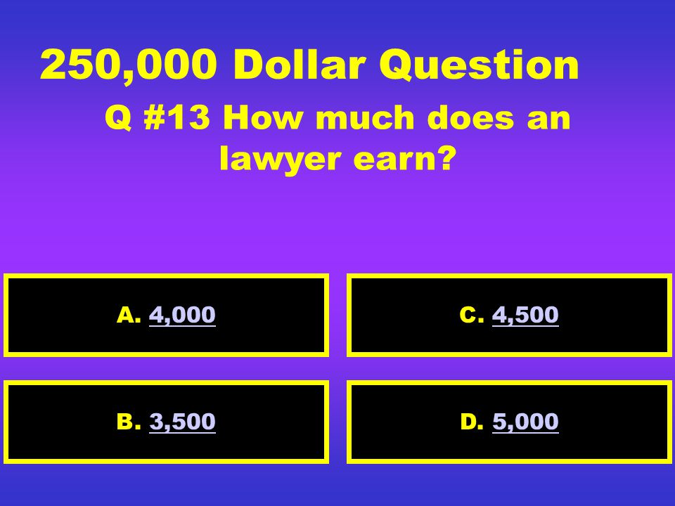 125,000 Dollar Question Q #12 How much does a computer animator earn? A. 4,0004,000 D. 5,2005,200B. 4,5004,500 C. 4,2004,200