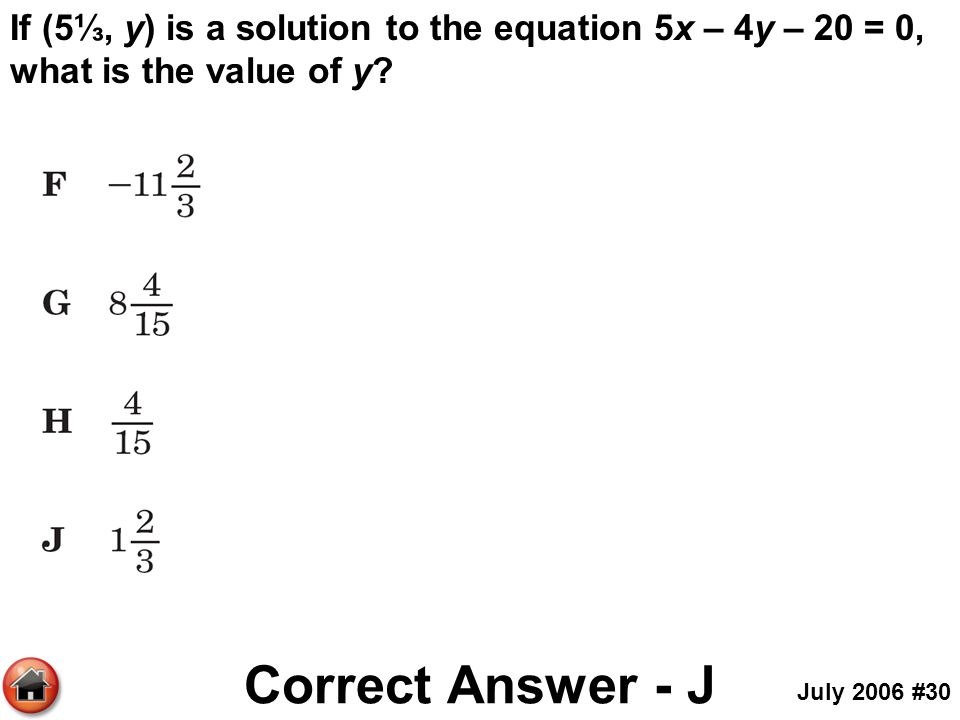 If (5⅓, y) is a solution to the equation 5x – 4y – 20 = 0, what is the value of y? Correct Answer - J July 2006 #30