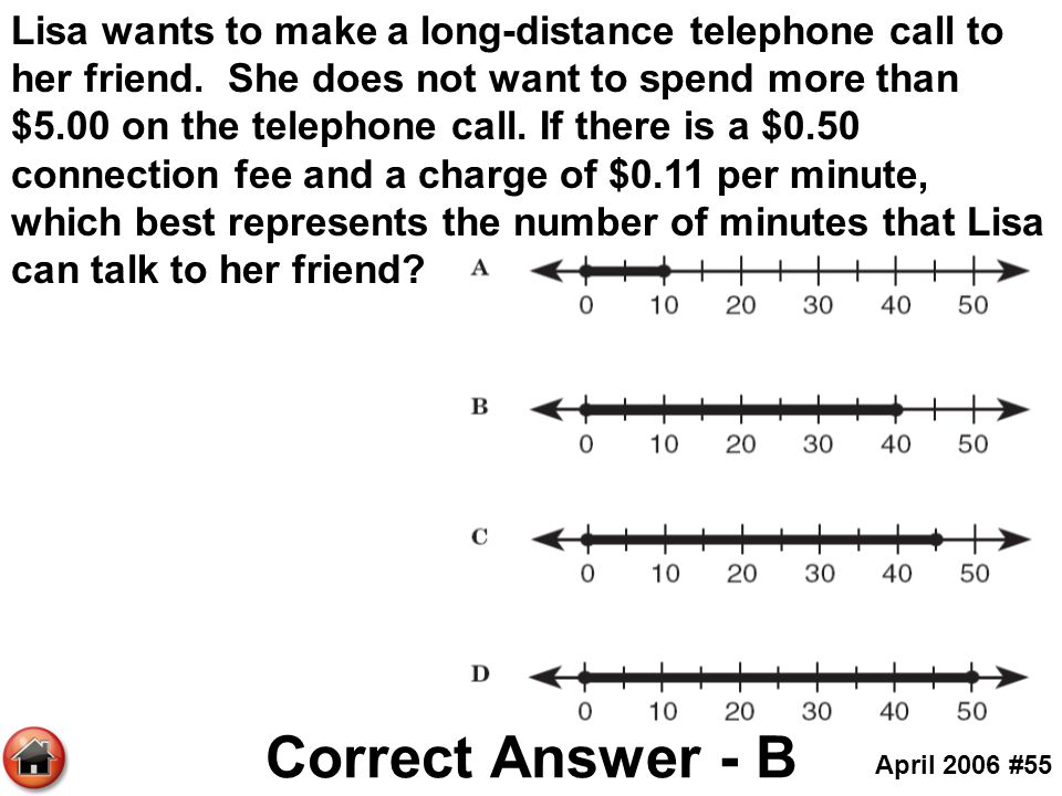 Lisa wants to make a long-distance telephone call to her friend. She does not want to spend more than $5.00 on the telephone call. If there is a $0.50