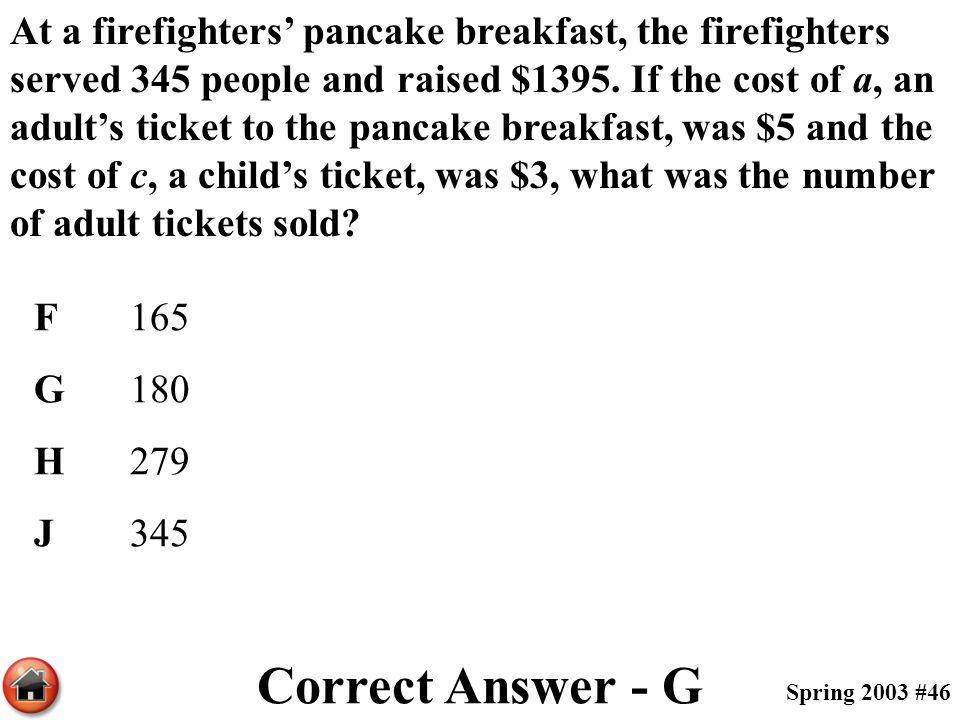 At a firefighters' pancake breakfast, the firefighters served 345 people and raised $1395. If the cost of a, an adult's ticket to the pancake breakfas