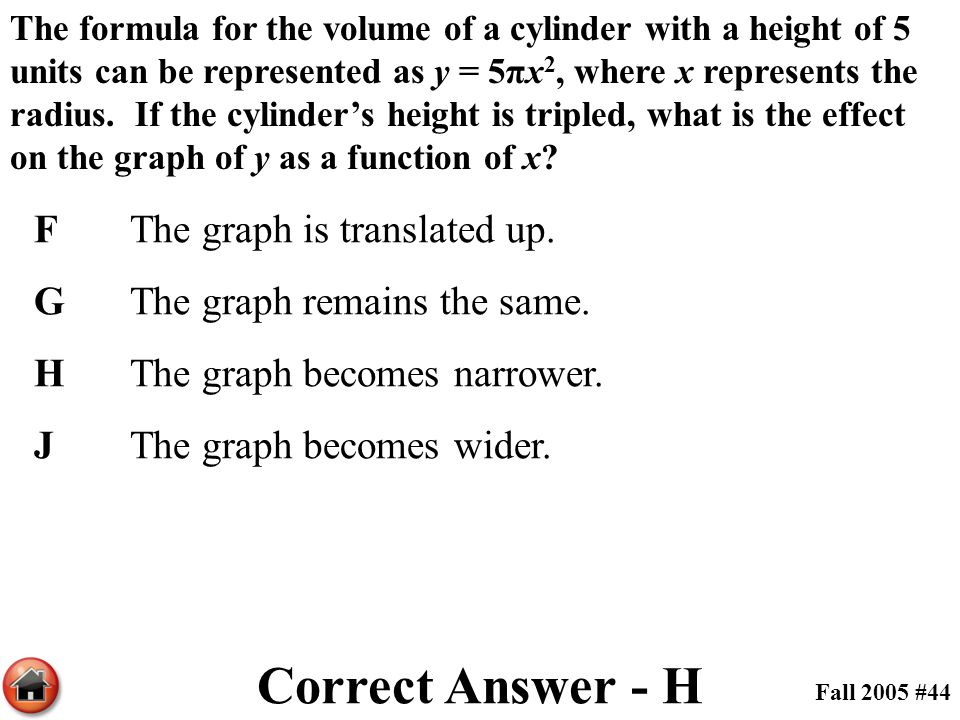 The formula for the volume of a cylinder with a height of 5 units can be represented as y = 5πx 2, where x represents the radius. If the cylinder's he