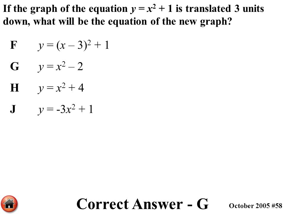 If the graph of the equation y = x 2 + 1 is translated 3 units down, what will be the equation of the new graph? Fy = (x – 3) 2 + 1 Gy = x 2 – 2 Hy =