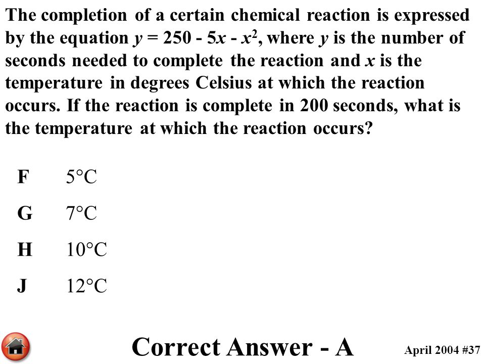 The completion of a certain chemical reaction is expressed by the equation y = 250 - 5x - x 2, where y is the number of seconds needed to complete the