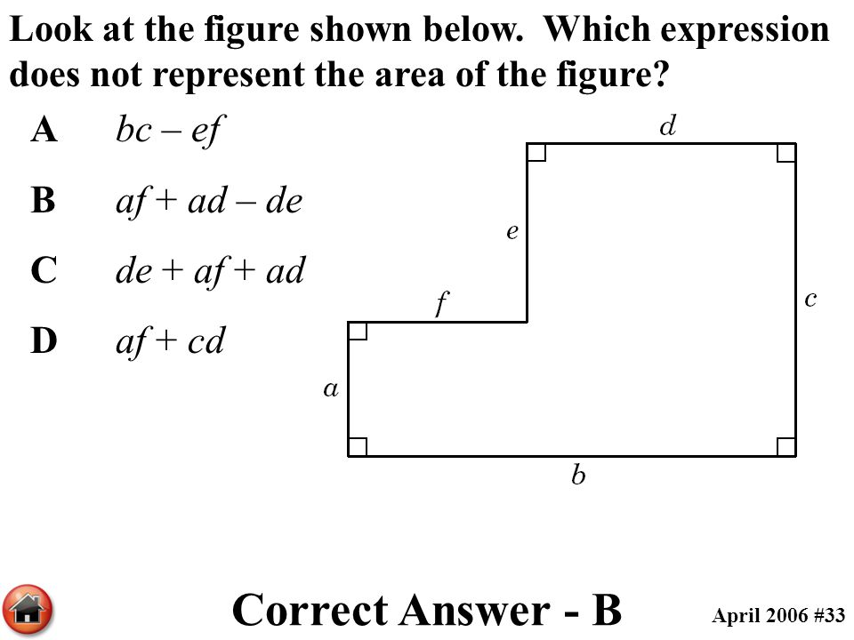 Look at the figure shown below. Which expression does not represent the area of the figure? Abc – ef Baf + ad – de Cde + af + ad Daf + cd Correct Answ