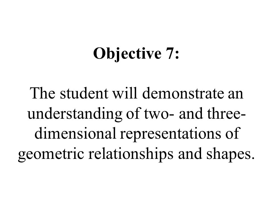 Objective 7: The student will demonstrate an understanding of two- and three- dimensional representations of geometric relationships and shapes.