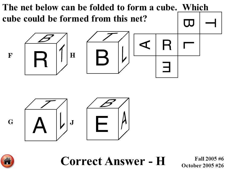 The net below can be folded to form a cube. Which cube could be formed from this net? Correct Answer - H Fall 2005 #6 October 2005 #26