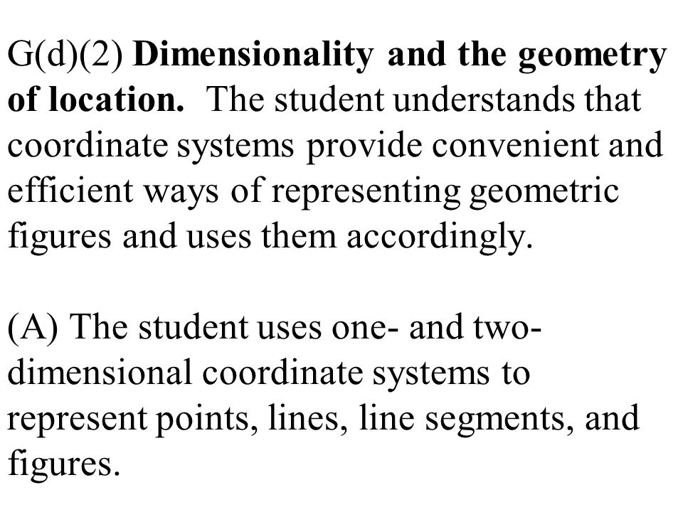 G(d)(2) Dimensionality and the geometry of location. The student understands that coordinate systems provide convenient and efficient ways of represen