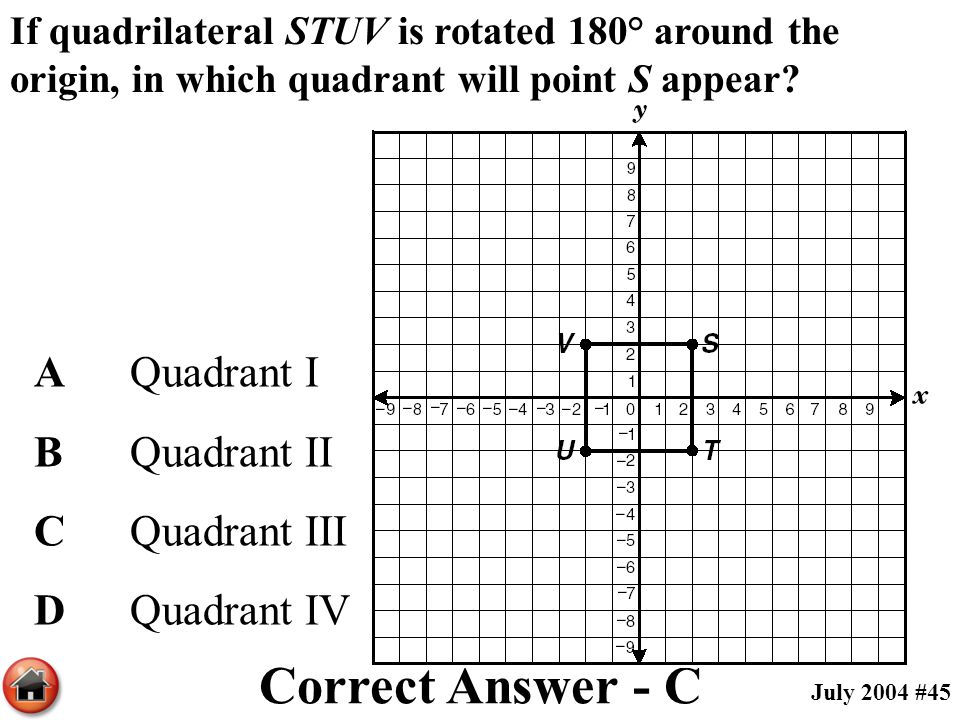 If quadrilateral STUV is rotated 180° around the origin, in which quadrant will point S appear? AQuadrant I BQuadrant II CQuadrant III DQuadrant IV Co