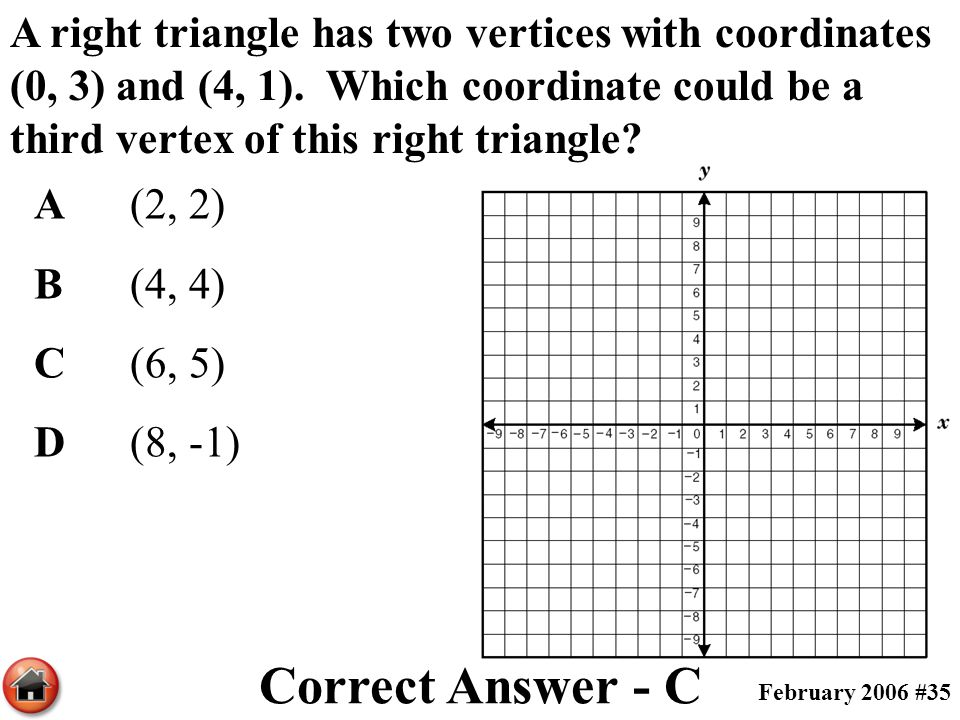 A right triangle has two vertices with coordinates (0, 3) and (4, 1). Which coordinate could be a third vertex of this right triangle? A(2, 2) B(4, 4)