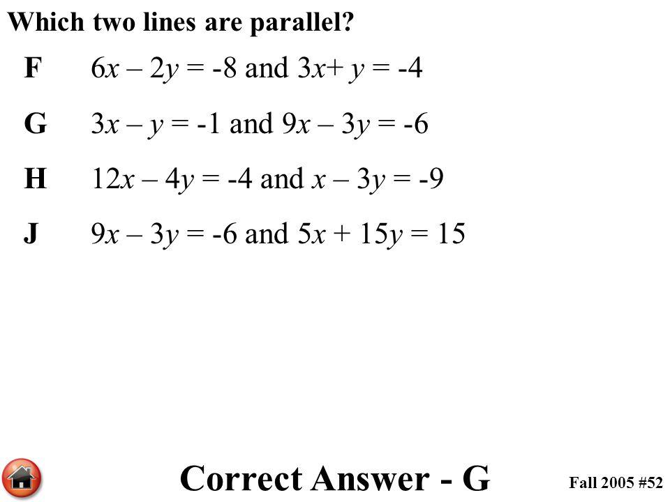 Which two lines are parallel? F6x – 2y = -8 and 3x+ y = -4 G3x – y = -1 and 9x – 3y = -6 H12x – 4y = -4 and x – 3y = -9 J9x – 3y = -6 and 5x + 15y = 1