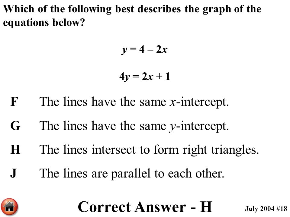 Which of the following best describes the graph of the equations below? y = 4 – 2x 4y = 2x + 1 FThe lines have the same x-intercept. GThe lines have t