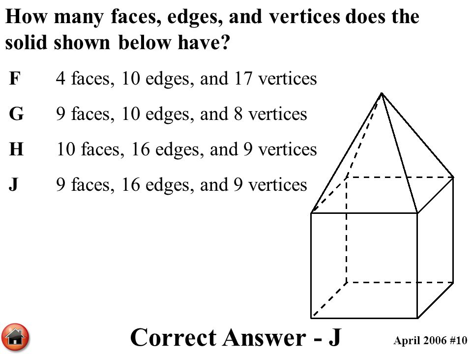 How many faces, edges, and vertices does the solid shown below have? F4 faces, 10 edges, and 17 vertices G9 faces, 10 edges, and 8 vertices H10 faces,