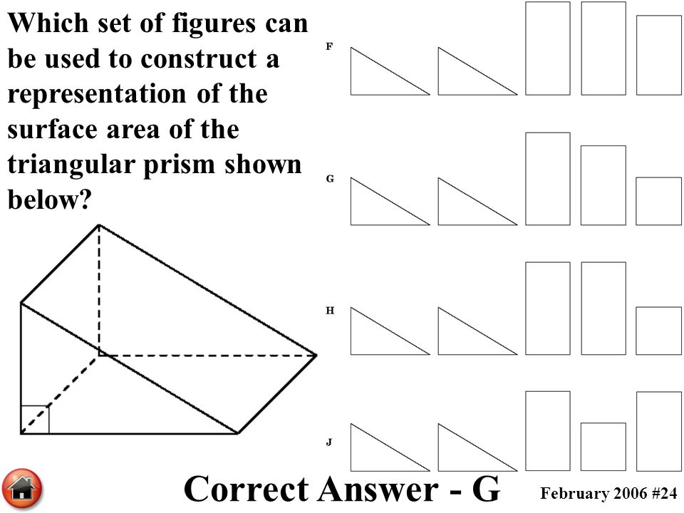 Which set of figures can be used to construct a representation of the surface area of the triangular prism shown below? Correct Answer - G February 20