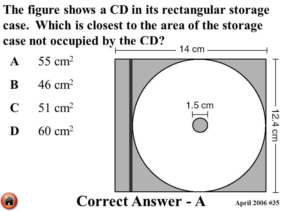 The figure shows a CD in its rectangular storage case. Which is closest to the area of the storage case not occupied by the CD? A55 cm 2 B46 cm 2 C51