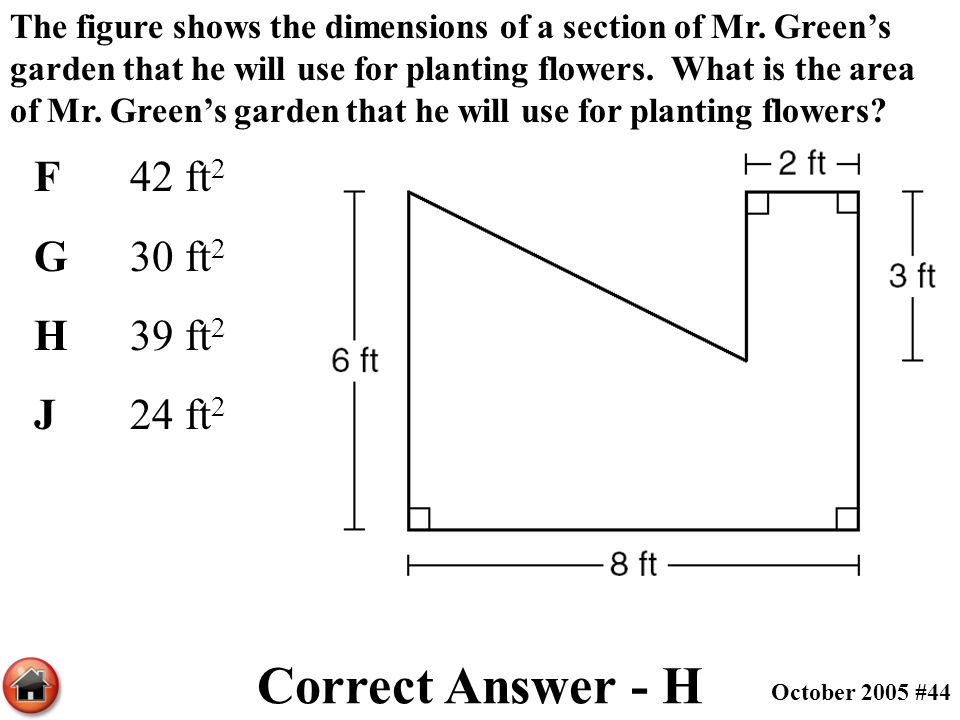 The figure shows the dimensions of a section of Mr. Green's garden that he will use for planting flowers. What is the area of Mr. Green's garden that