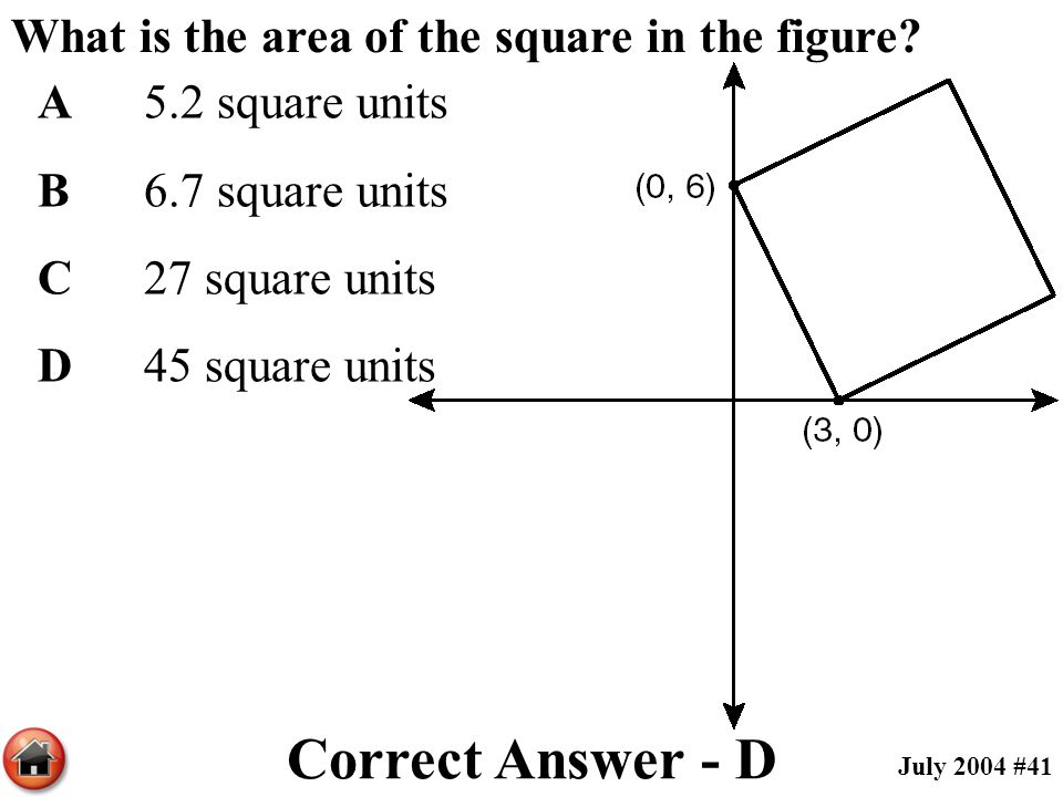 What is the area of the square in the figure? A5.2 square units B6.7 square units C27 square units D45 square units Correct Answer - D July 2004 #41