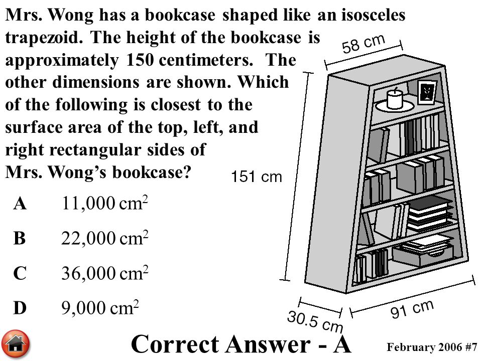 Mrs. Wong has a bookcase shaped like an isosceles trapezoid. The height of the bookcase is approximately 150 centimeters. The other dimensions are sho