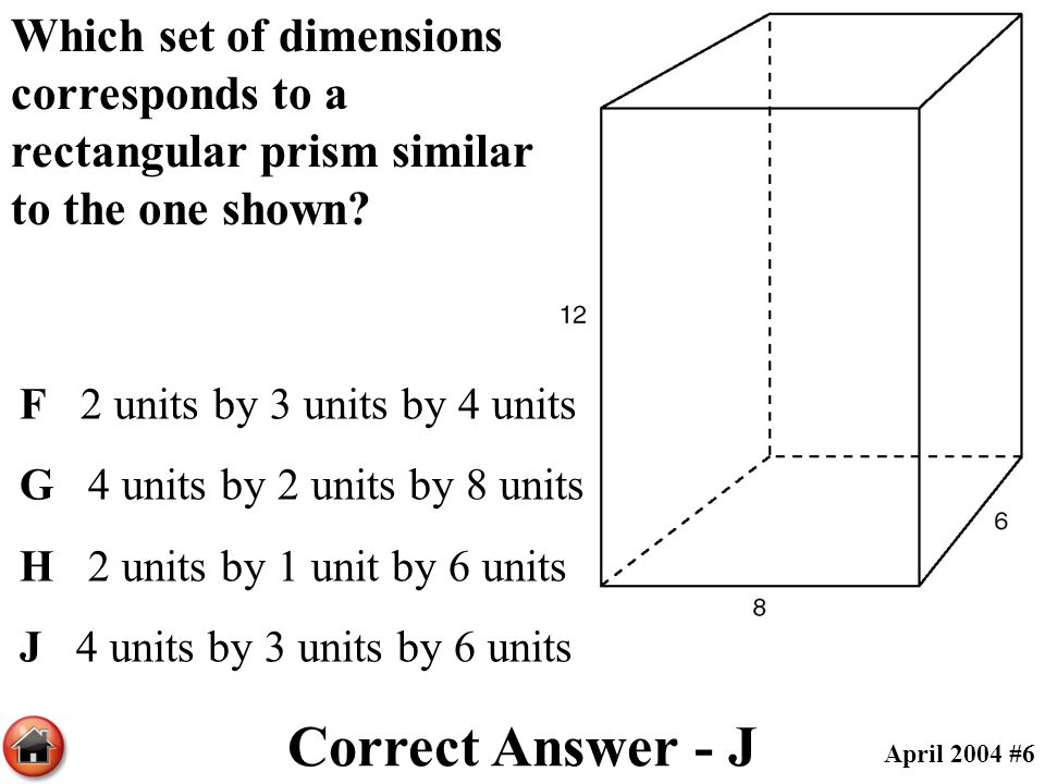 Correct Answer - J April 2004 #6 Which set of dimensions corresponds to a rectangular prism similar to the one shown? F 2 units by 3 units by 4 units