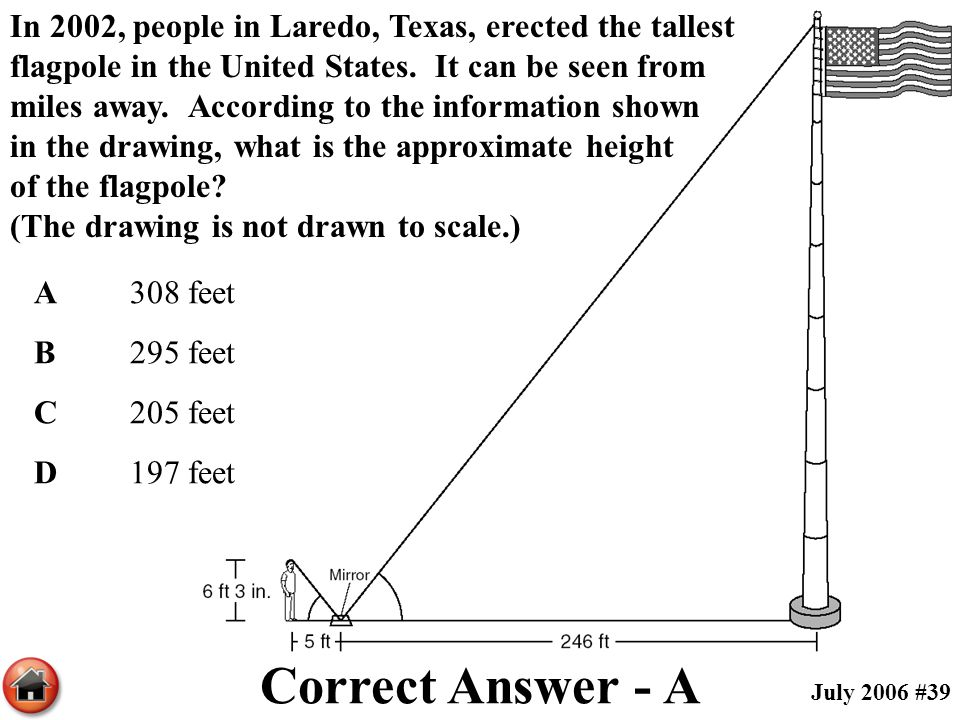 In 2002, people in Laredo, Texas, erected the tallest flagpole in the United States. It can be seen from miles away. According to the information show