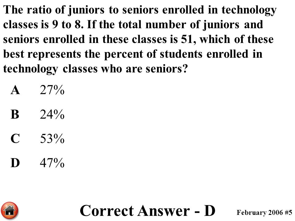 The ratio of juniors to seniors enrolled in technology classes is 9 to 8. If the total number of juniors and seniors enrolled in these classes is 51,