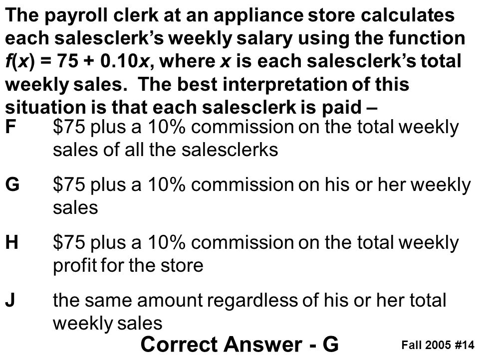 The payroll clerk at an appliance store calculates each salesclerk's weekly salary using the function f(x) = 75 + 0.10x, where x is each salesclerk's