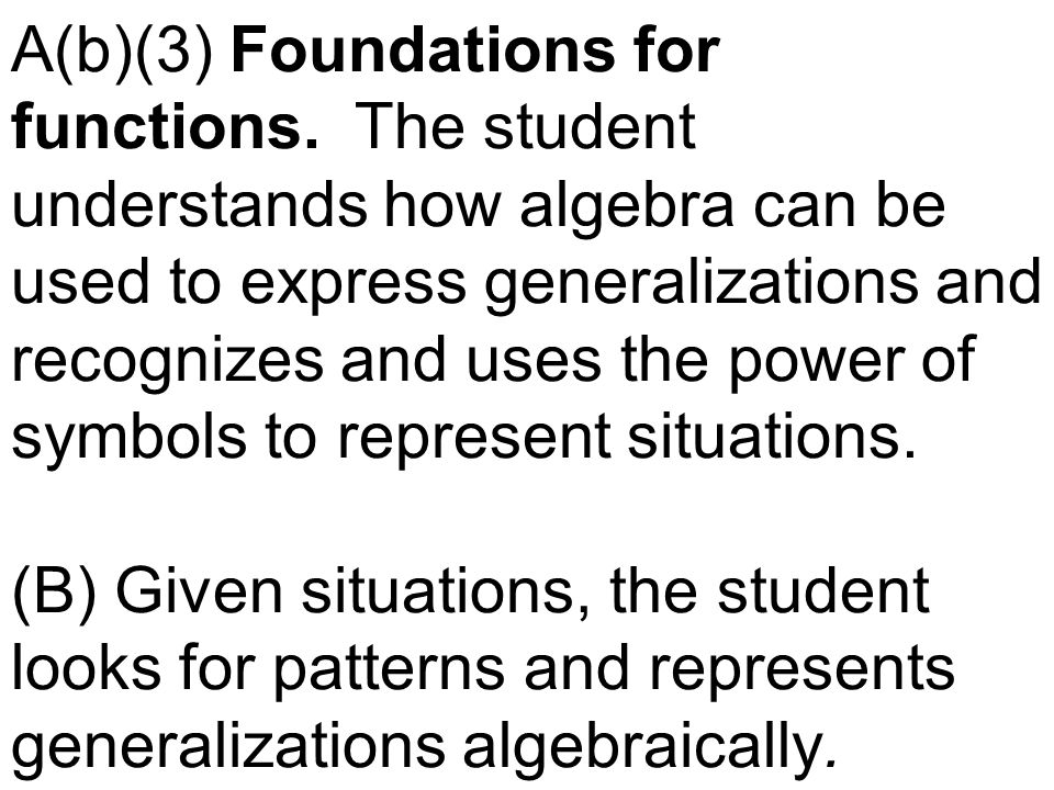A(b)(3) Foundations for functions. The student understands how algebra can be used to express generalizations and recognizes and uses the power of sym