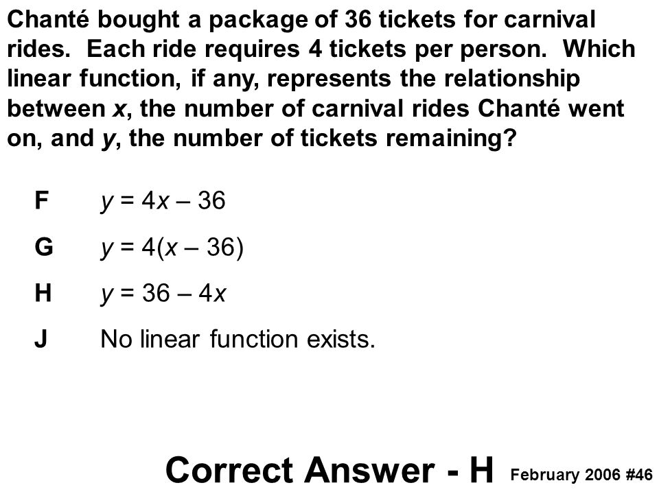 Chanté bought a package of 36 tickets for carnival rides. Each ride requires 4 tickets per person. Which linear function, if any, represents the relat