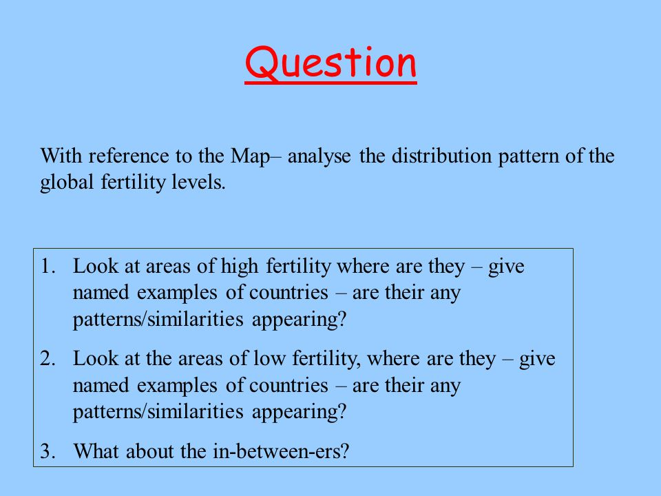 Question With reference to the Map– analyse the distribution pattern of the global fertility levels.