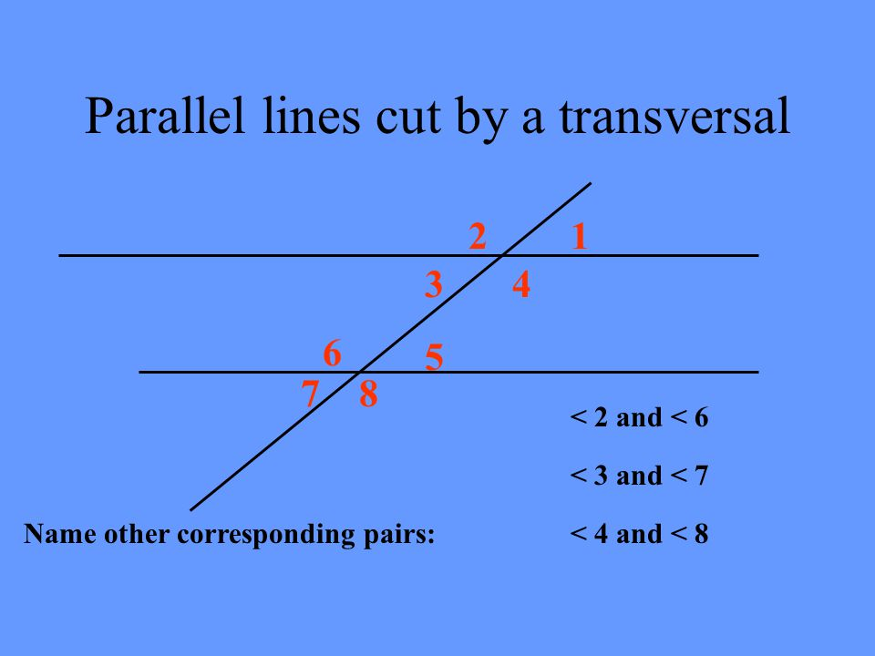 Corresponding Angles Are Congruent m lt 5 Corresponding Angles