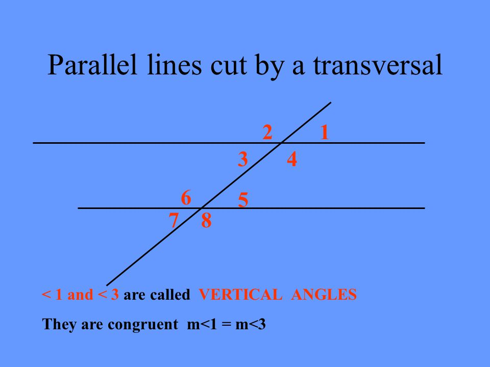 Parallel lines cut by a transversal 12 34 5 6 78 < 1 and < 3 are called VERTICAL ANGLES They are congruent m<1 = m<3